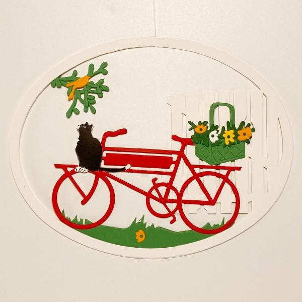 Fensterbild Fahrrad mit Katze und Vogel