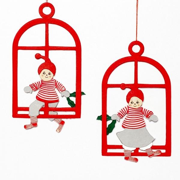 Fensterbild Julenisse und Mädchen, 2 Stk