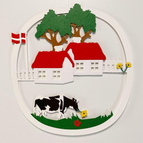 Fensterbild Bauernhof mit Dannebrog