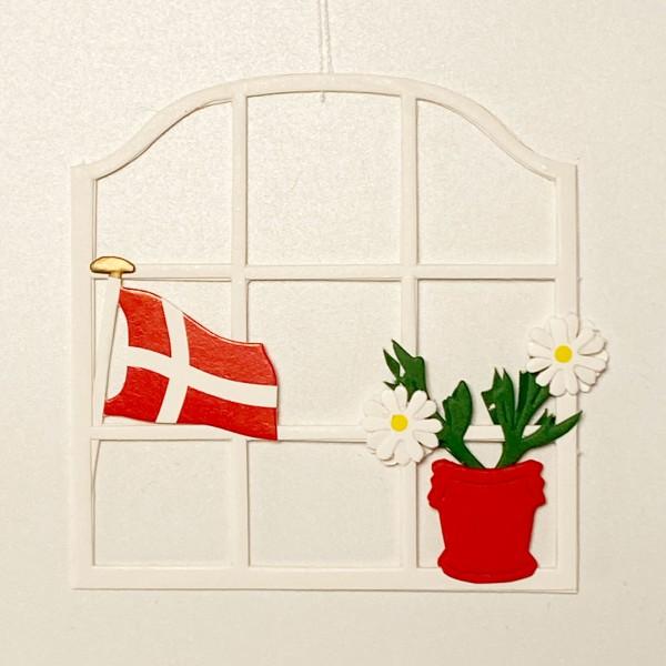 Fensterbild Blume mit Dannebrog weiß