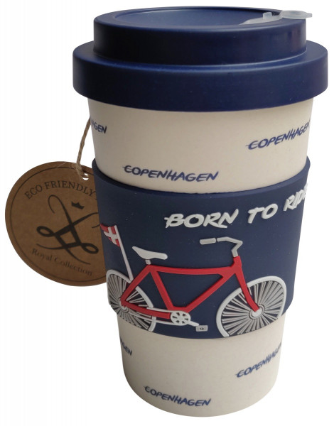 """Royal Collection Kaffeebecher To Go aus Bambus """"Born to ride"""""""