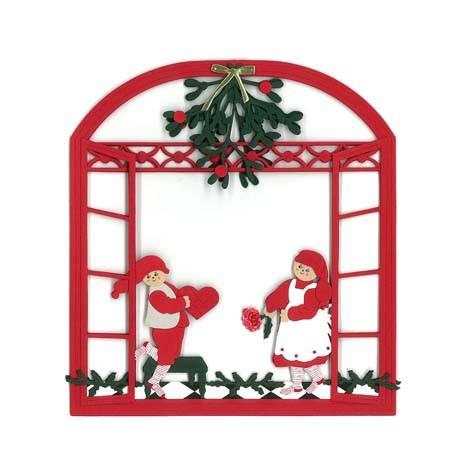 Weihnachtsfenster mit Wichteln