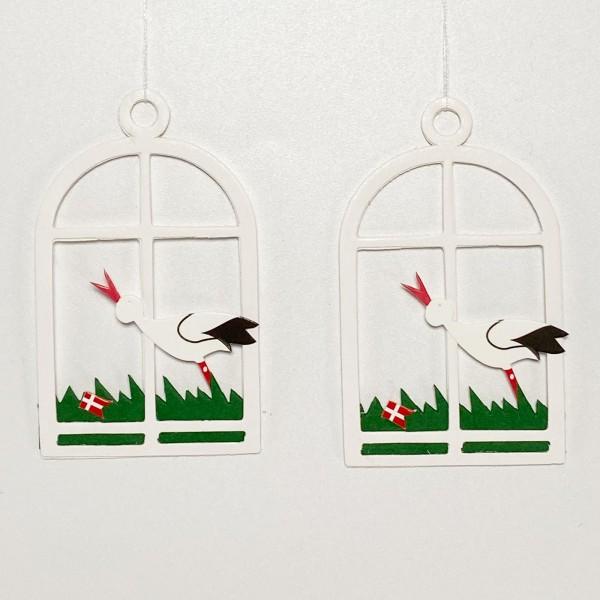 Fensterbild Storch mit Dannebrog weiß, 2 Stk
