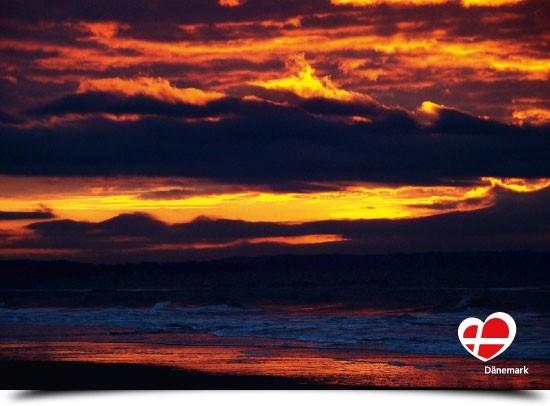 """Postkarte """"Sonnenuntergang bei Blokhus"""""""