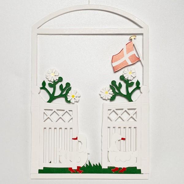 Fensterbild Gartentor mit Dannebrog weiß