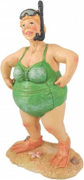 Dänische Sommerdame Grün mit Schnorchel Keramikmodell