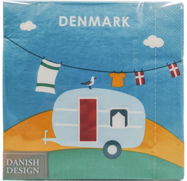 Servietten Dänischer Campingwagen mit Möwe
