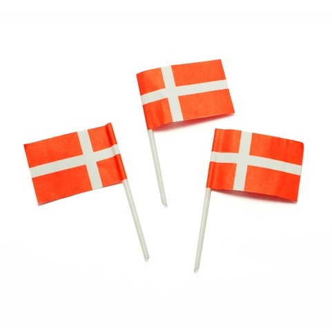 40 Dänemark Fähnchen zum Verzieren mit Plastikstab