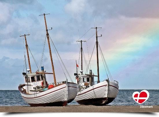 """Postkarte """"Fischerboote am Slettestrand"""""""