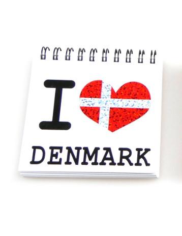 """Memories of Denmark Schreibblock mit Magnet """"I love DK"""""""
