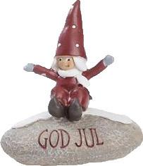 """Det Gamle Apotek kleiner Wichtel auf Stein """"God Jul"""""""
