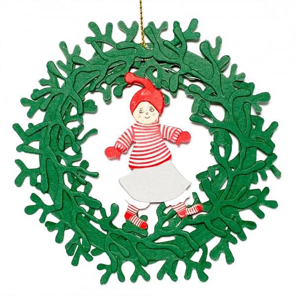 Fensterbild Julenisse Mädchen im Kranz