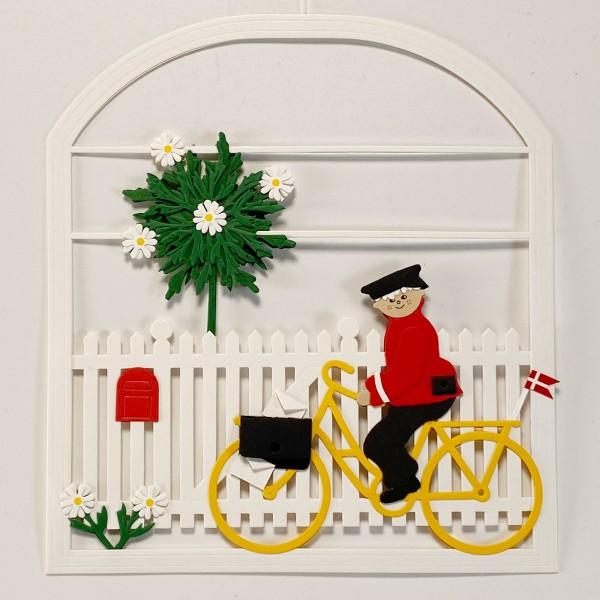 Fensterbild Postbote auf Fahrrad
