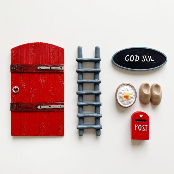 Nissedør - Wichteltür Rot God Jul 6-teilig