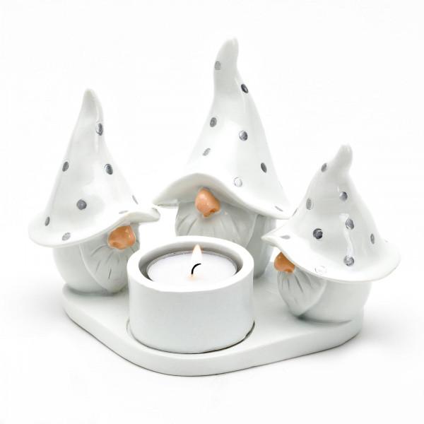 Harvesttime Teelichtring 3 Wichtel Weiß