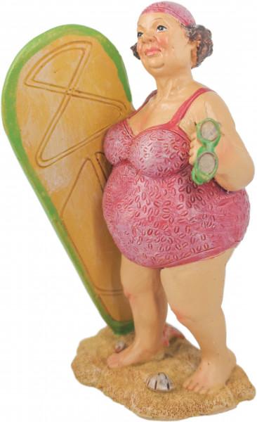 Dänische Sommerdame mit Surfbrett Keramikmodell
