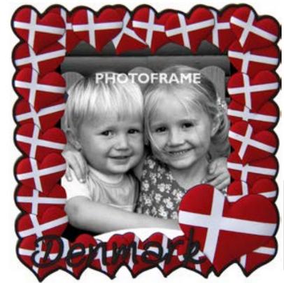 Memories of Denmark Bilderrahmen Hjerteflag