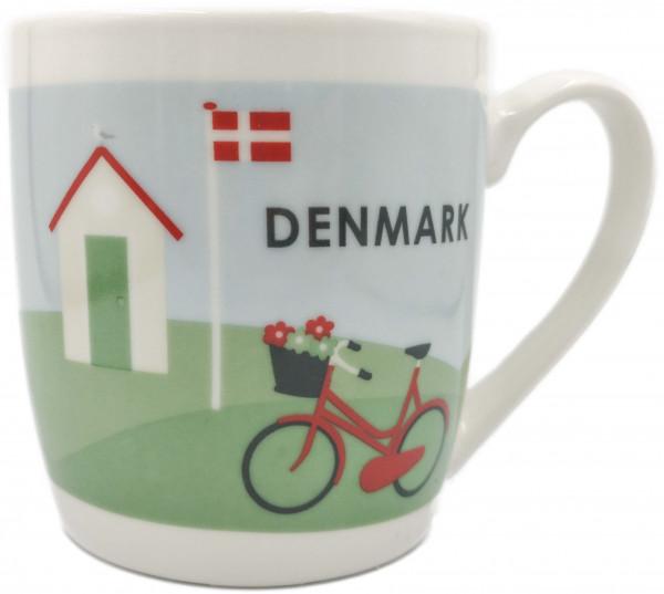 Tasse Dänisches Ferienhaus mit Fahrrad
