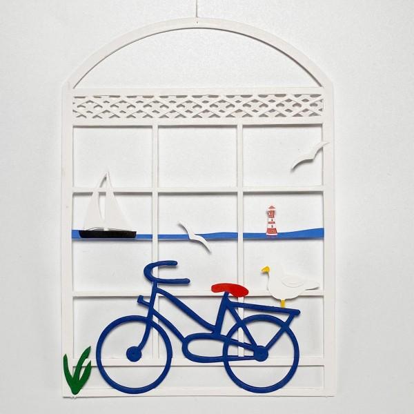 Fensterbild mit Fahrrad und Segelschiff