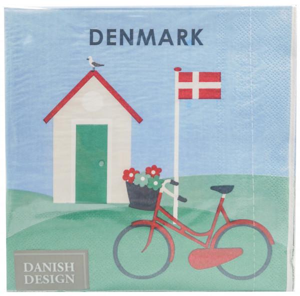 Servietten Dänisches Ferienhaus mit Fahrrad
