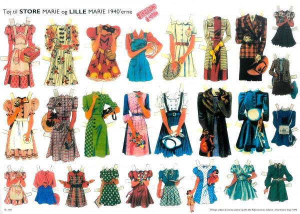 Bastelbogen Kleidung für Store og Lille Marie