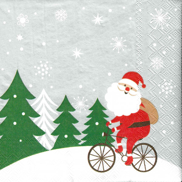 "ASP-Holmblad Servietten ""Santa on bike"""