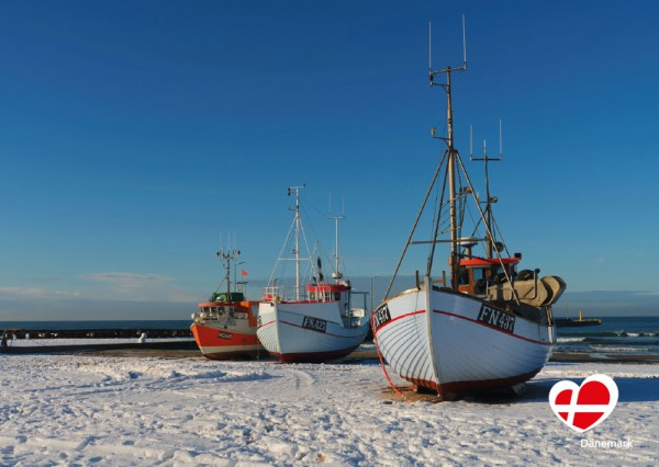 "Postkarte ""Fischerboote in Løkken"""