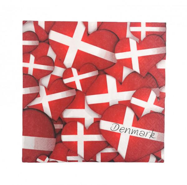 Memories of Denmark Servietten Hjerteflag