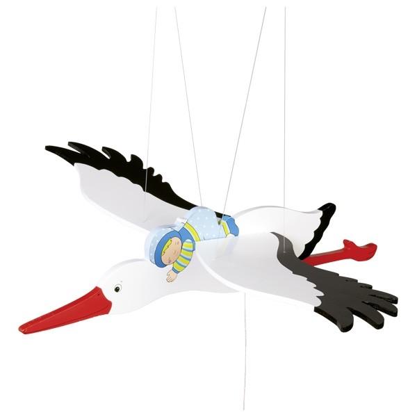 Storch-Mobile von goki Blau