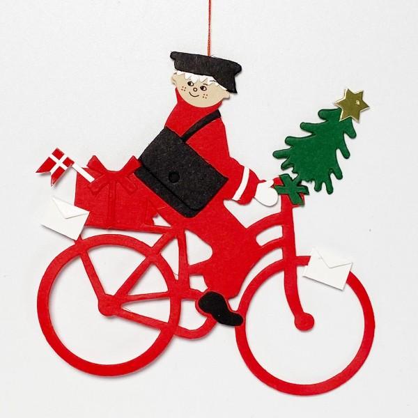 Fensterbild Postbote auf Fahrrad mit Weihnachtsbaum und Dannebrog