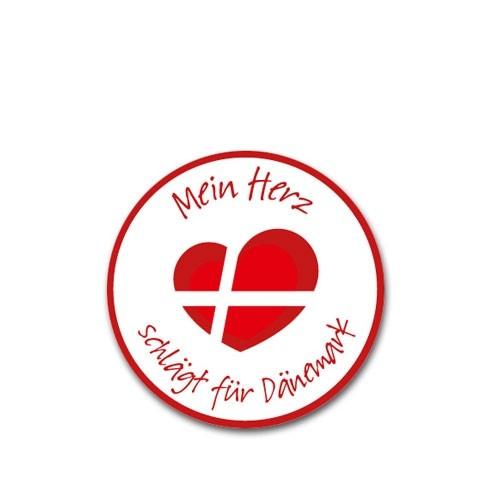 """Aufkleber """"Mein Herz schlägt für Dänemark"""" klein Indoor"""