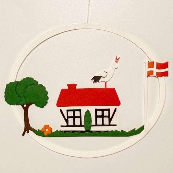 Fensterbild Haus mit Storch und Dannebrog