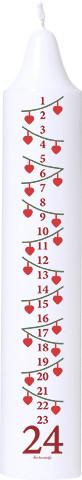 Adventskalenderkerze weiß mit kleinen Julehjerter