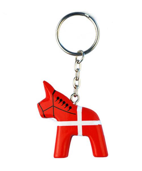 Schlüsselanhänger Pferd Dannebrog aus Holz
