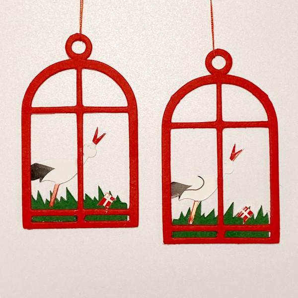 Fensterbild Storch mit Dannebrog rot, 2 Stk
