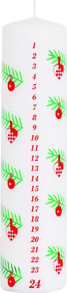 Adventskalenderkerze weiß mit dekoriertem Weihnachtszweig