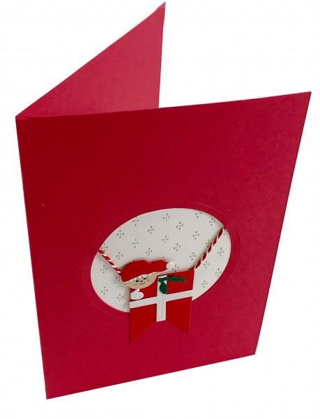 Weihnachtskarte mit Julenisse und Dannebrog