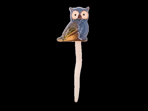 "Maj Isenkram Gartendeko ""Ugle Mini"" mit Feder 15cm Blau"