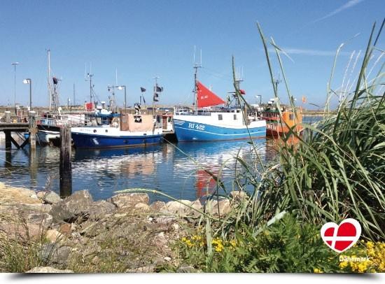 "Postkarte ""Fischerboote in Hvide Sande"""