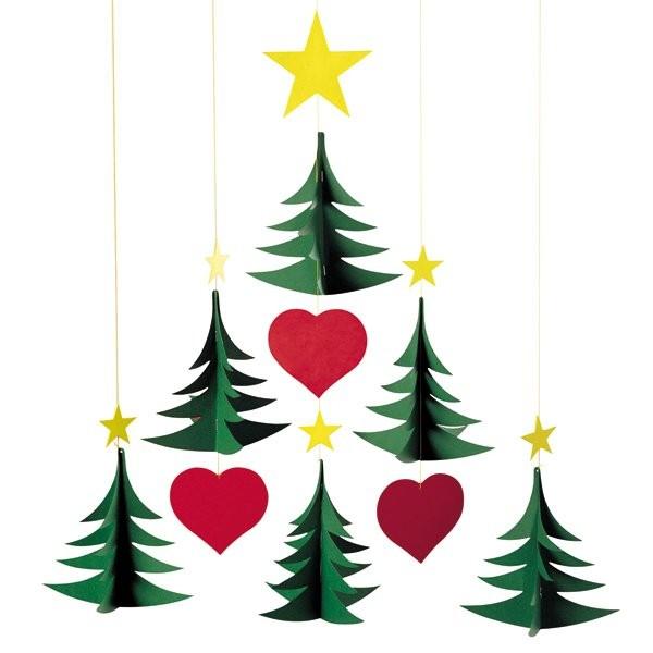 Flensted Mobile mit 6 Weihnachtsbäume