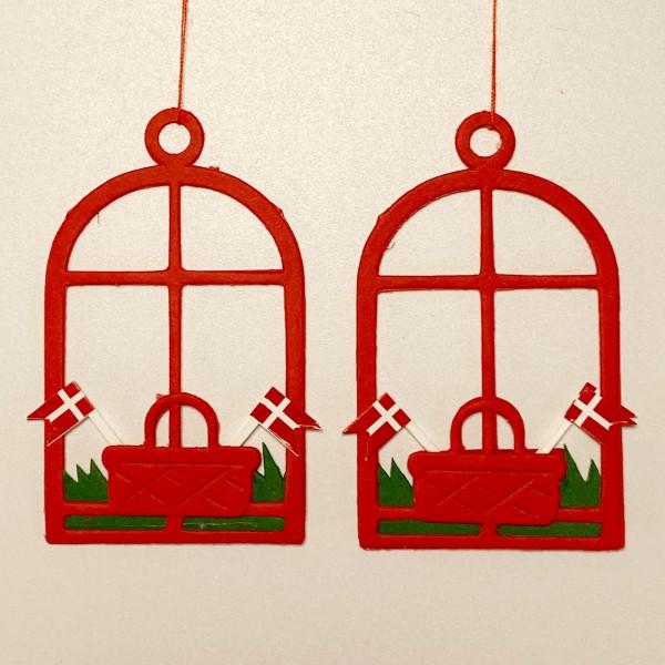 Fensterbild Korb mit Dannebrog rot, 2 Stk