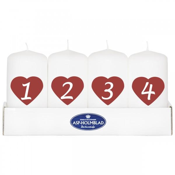 4 Kerzen für den Adventskranz mit Herzen